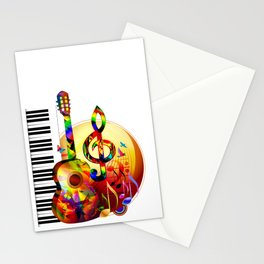 Colorful  music instruments painting, guitar, treble clef, piano, musical notes, flying birds Stationery Cards