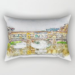 Aquarelle sketch art. View of the historic bridge in Florence. Rectangular Pillow