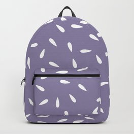 White Raindrops on Purple Background Backpack