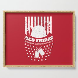 Red Friday American Flag Military Serving Tray