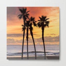 California Sunset Palms / Huntington Beach Ca. Metal Print