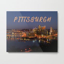 Pittsburgh, Pennsylvania Downtown Night Time River with Bridges Metal Print