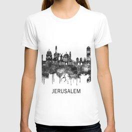 Jerusalem Israel Skyline BW T-shirt