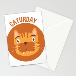 Caturday Tabby Cat Portrait Stationery Cards