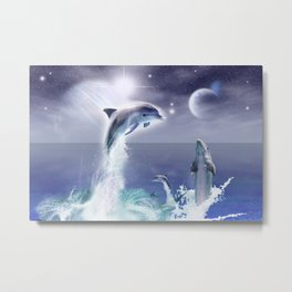 Dolphins and Planets Metal Print