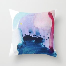 PYT: a minimal abstract mixed media piece on canvas in blues, pink, purple, and white Throw Pillow