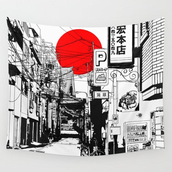 Tokyo street sunrise Wandbehang