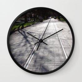 Streetcar Tracks Still Visible On Residental Street Wall Clock