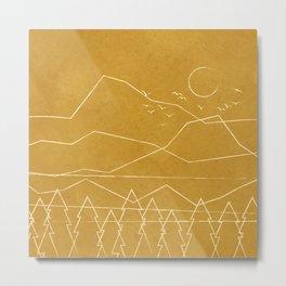 Minimalist Landscape Line Art II Metal Print