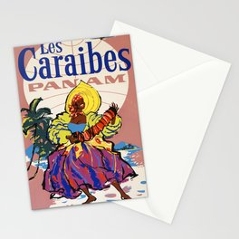 retro Plakat Les Caraibes Stationery Cards