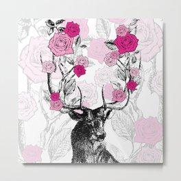 The Stag and Roses | Deer and Flowers | Pink | Vintage Stag | Vintage Deer | Antlers | Woodland | Metal Print