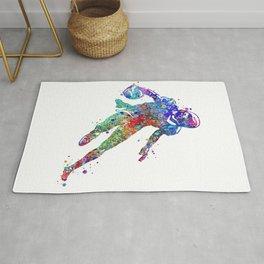 American Football Player Art Colorful Watercolor Gift Rug