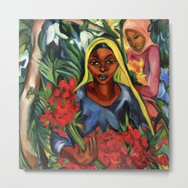 African American portrait painting 'The Flower Market' by E. Stern Metal Print