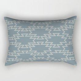 Southwest Azteca - Minimalist Geometric Pattern in Neutral Medium Blue Gray Rectangular Pillow