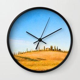 Tuscany landscape watercolor painting Wall Clock