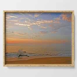 Sunrise at the ocean with jetty and birds - minimalist landscape photography Serving Tray