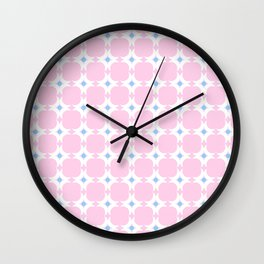 Symmetric patterns 154 blue and pink with moon Wall Clock