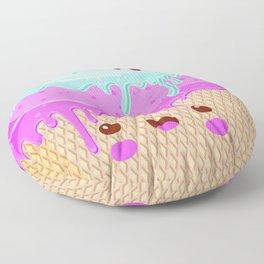 kawaii melted ice cream Floor Pillow