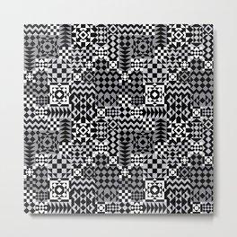 Grey Geo Patchwork Metal Print