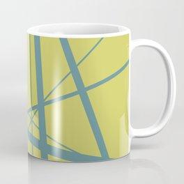 Turquoise Mikado Lines yellow background Coffee Mug