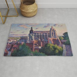 Cathedral at Gisors, View of the Ramparts, Paris, France by Maximilien Luce Rug