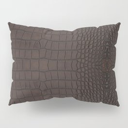 Alligator Brown Leather Print Pillow Sham