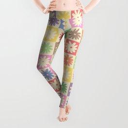 Colorful Flower Checkered Pattern Leggings