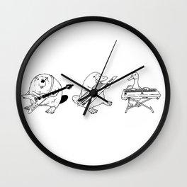 Keytar Platypus Venn Diagram White and Black Wall Clock