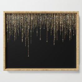Luxury Chic Black Gold Sparkly Glitter Fringe Serving Tray
