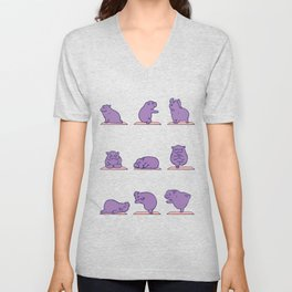 Baby Hippo Yoga Unisex V-Neck