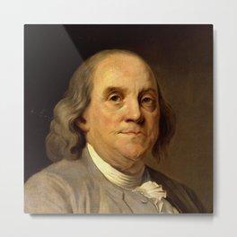 portrait of Benjamin Franklin by Joseph Duplessis Metal Print
