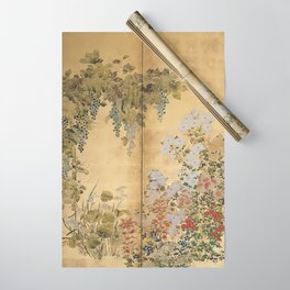 Japanese Edo Period Six-Panel Gold Leaf Screen - Spring and Autumn Flowers Wrapping Paper