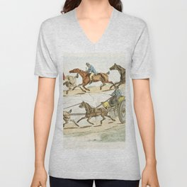 Illustration of a race with a carriage from Sporting Sketches (1817-1818) by Henry Alken (1784-1851) Unisex V-Neck