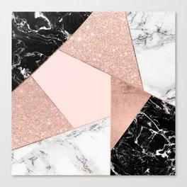 Modern rose gold glitter black white marble geometric color block Canvas Print
