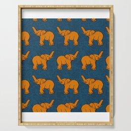 Face Covering Orange Elephants Blue Mask Neck Gaiter Bandana Neck Gator.jpg Serving Tray