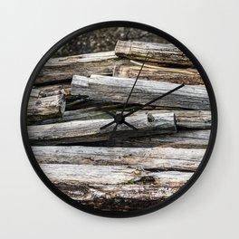 Hand Cut Lumber From Dismantled Log Barn 2 Wall Clock