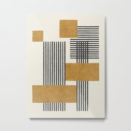 Stripes and Square Composition - Abstract Metal Print