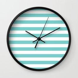 Horizontal Aqua Stripes Wall Clock
