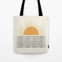 Sunrise Ocean -  Mid Century Modern Style Tote Bag