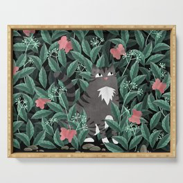 Butterfly Garden (Tabby Cat Version) Serving Tray