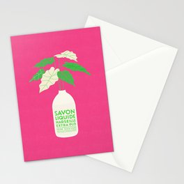 French Alocasia Polly Plant - In Hot Pink Stationery Cards