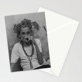 Old lady smoking cuban cigar in Havana Stationery Cards