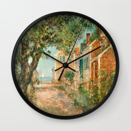 Classical Masterpiece 'Provincetown, Cape Cod' by Frederick Childe Hassam Wall Clock