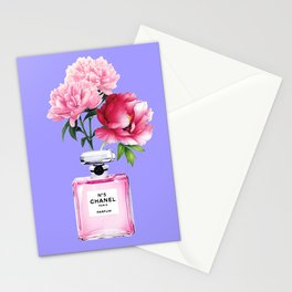 Violet Perfume and Peonies Stationery Cards
