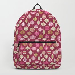 Christmas Vintage Ornaments Pink Backpack