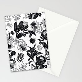 Black and White Floral Ornamental design Stationery Cards