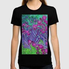 Vincent Van Gogh Irises Painting Violet Fuchsia Palette T-shirt