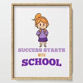 Success school girl schoolchild lessons Serving Tray