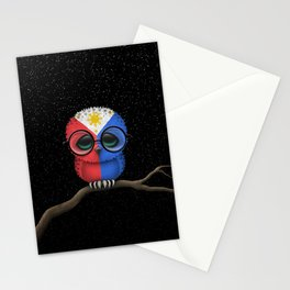 Baby Owl with Glasses and Filipino Flag Stationery Cards