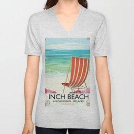 Inch Beach  An Daingean - ireland vintage travel poster Unisex V-Neck